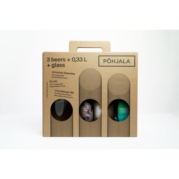 Gift pack CELLAR SERIES: Armchair Detective 0.33L + Cocobänger BA 0.33L + Öö XO 0.33L + GLASS